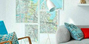 Wandcollage met plattegrond