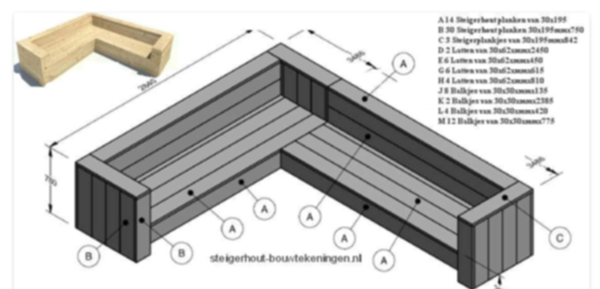 Hoekbank steigerhout for Tuin praxis