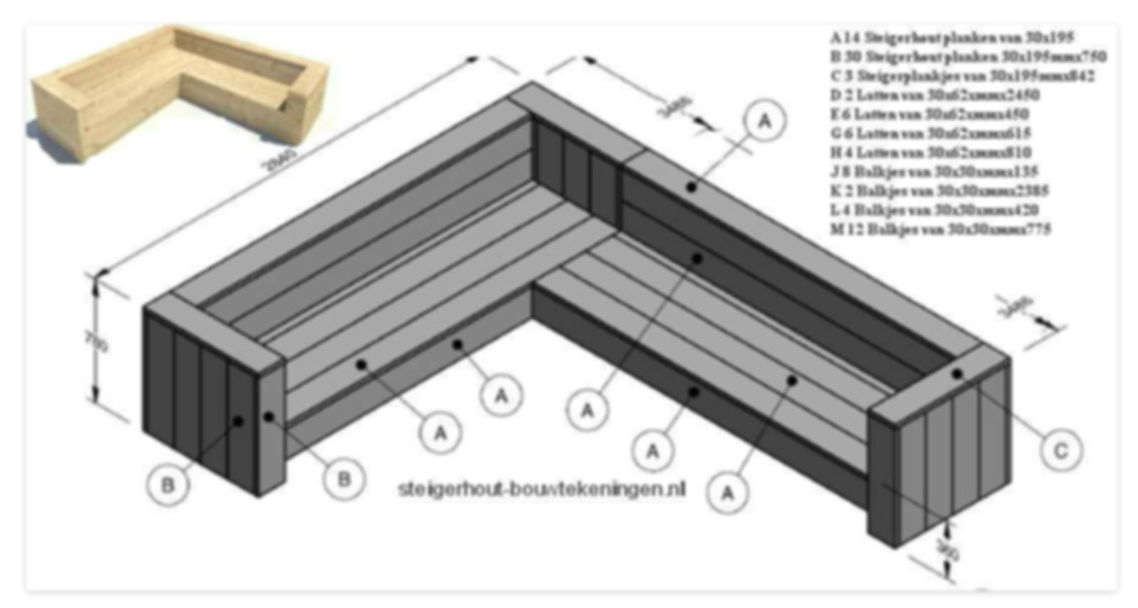Zeer hoekbank steigerhout | voordemakers.nl BE74