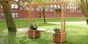 Maak een tuinbank met een pergola