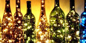 Kerstlichtjes in fles