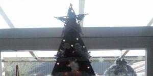 Kerstboom van steigerplanken
