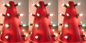Katloze kerstboom (in een echte boom klimt de kat steeds in)