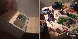 Speeltafel / (opberg)tafel met groot blad om op te spelen