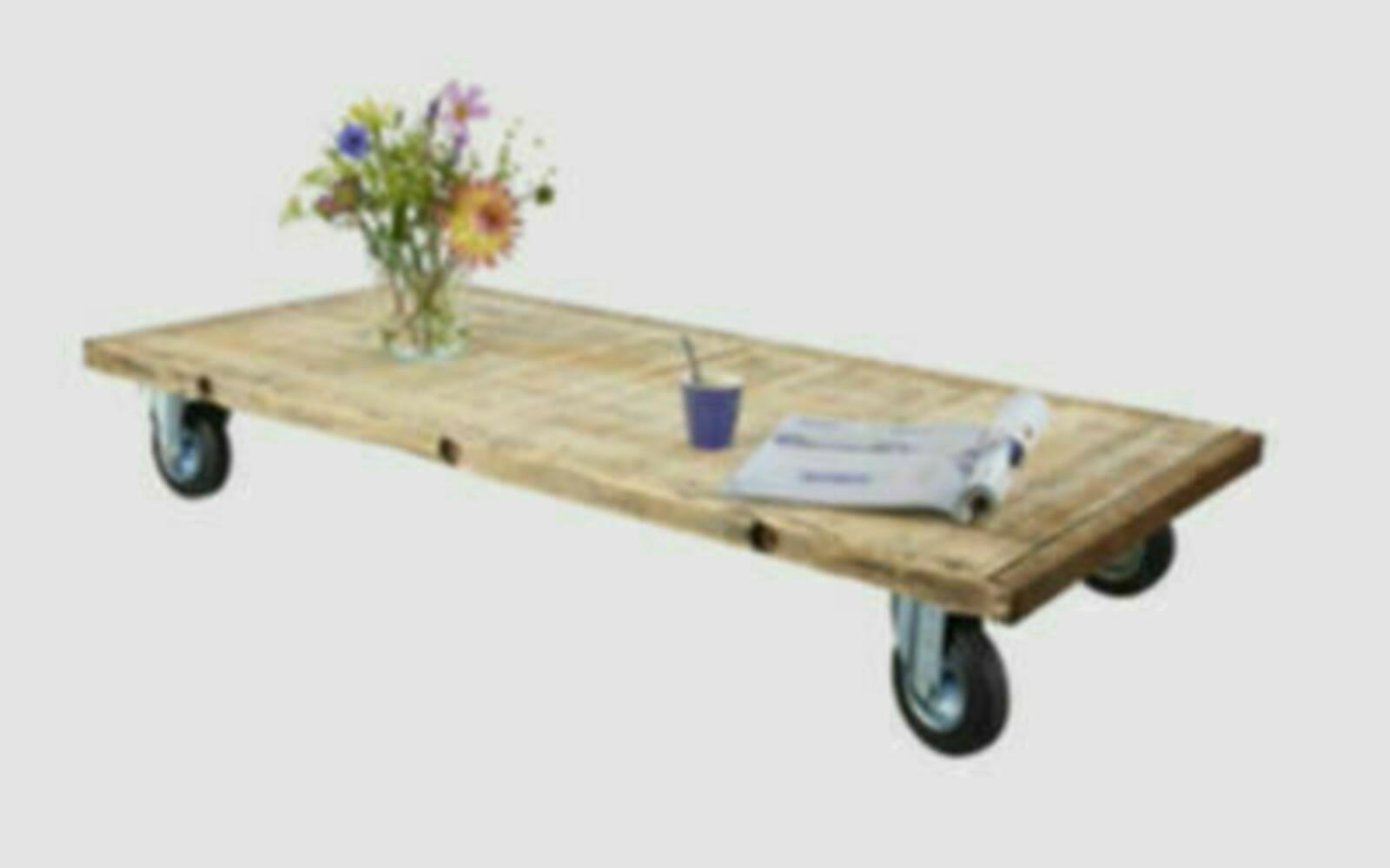 Steigerhout tafel met wieltjes voordemakers.nl