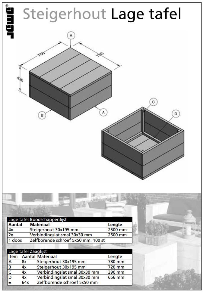 Bouwtekening lage houten tafel for Bouwtekening tafel