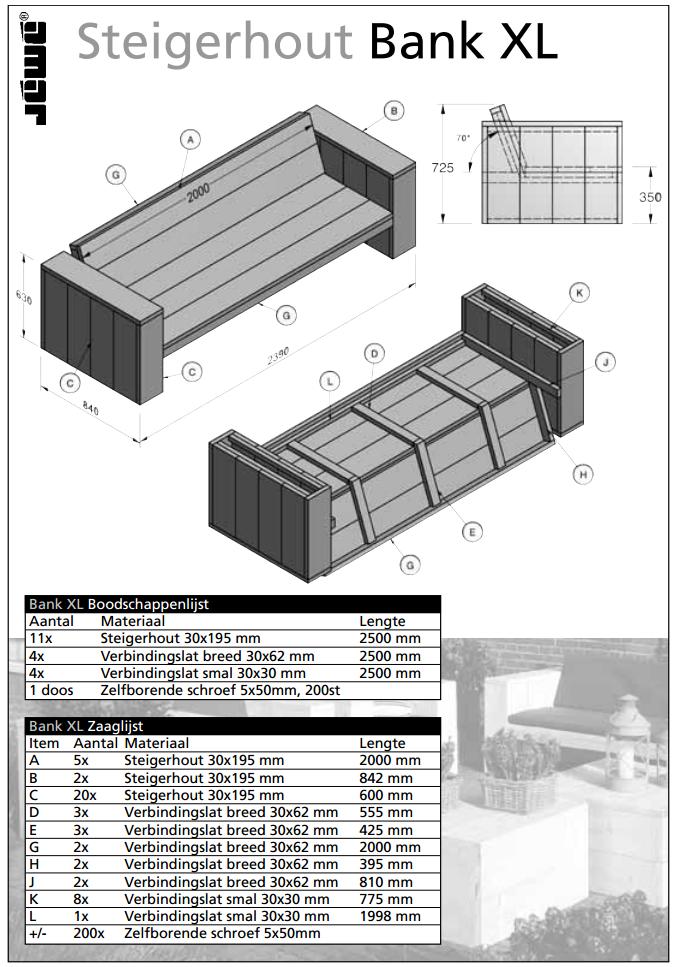 Fabulous Bouwtekening houten bank XL | voordemakers.nl XH33