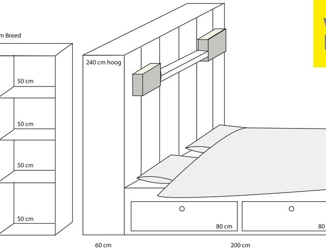 Kast En Bed Met Opbergruimte Voor Studentenkamer Bed Deel