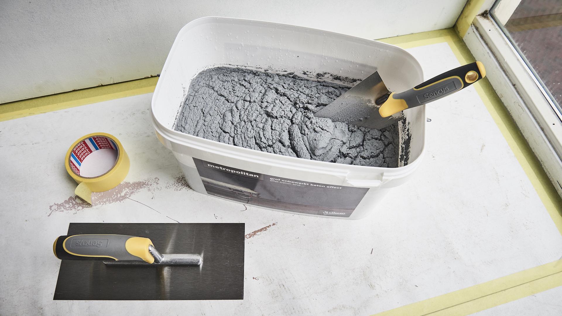 Muur in betonlook maken for Betonlook verf praxis