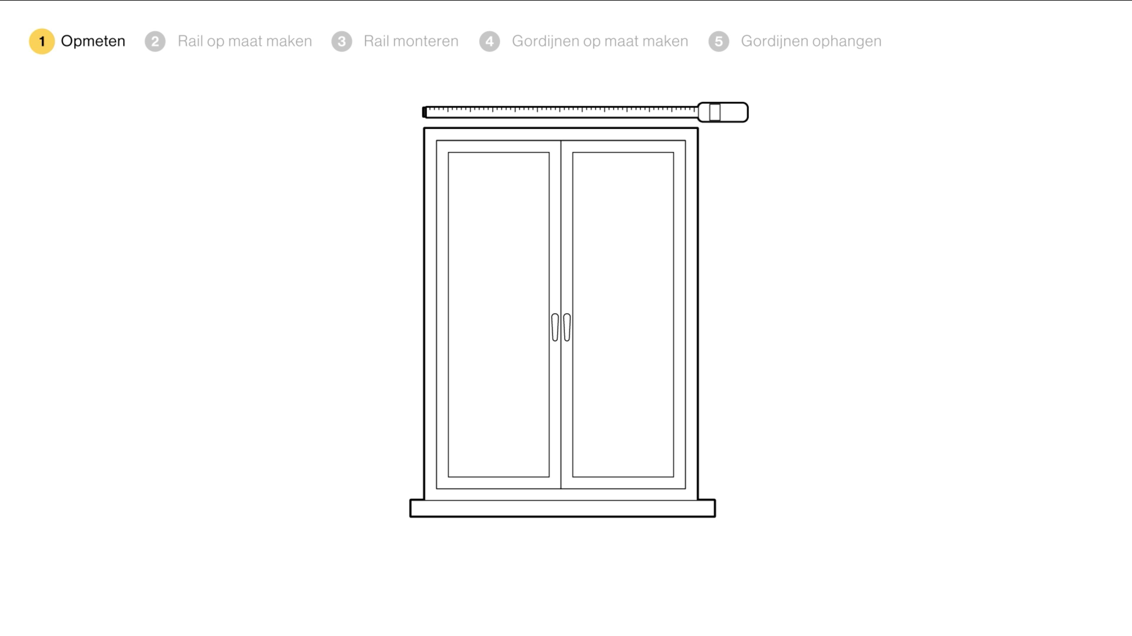 bepaal de lengte van de gordijnrails komt het gordijn alleen voor een raam te hangen meet dan de breedte van het raam op en tel er aan iedere zijde 15 cm