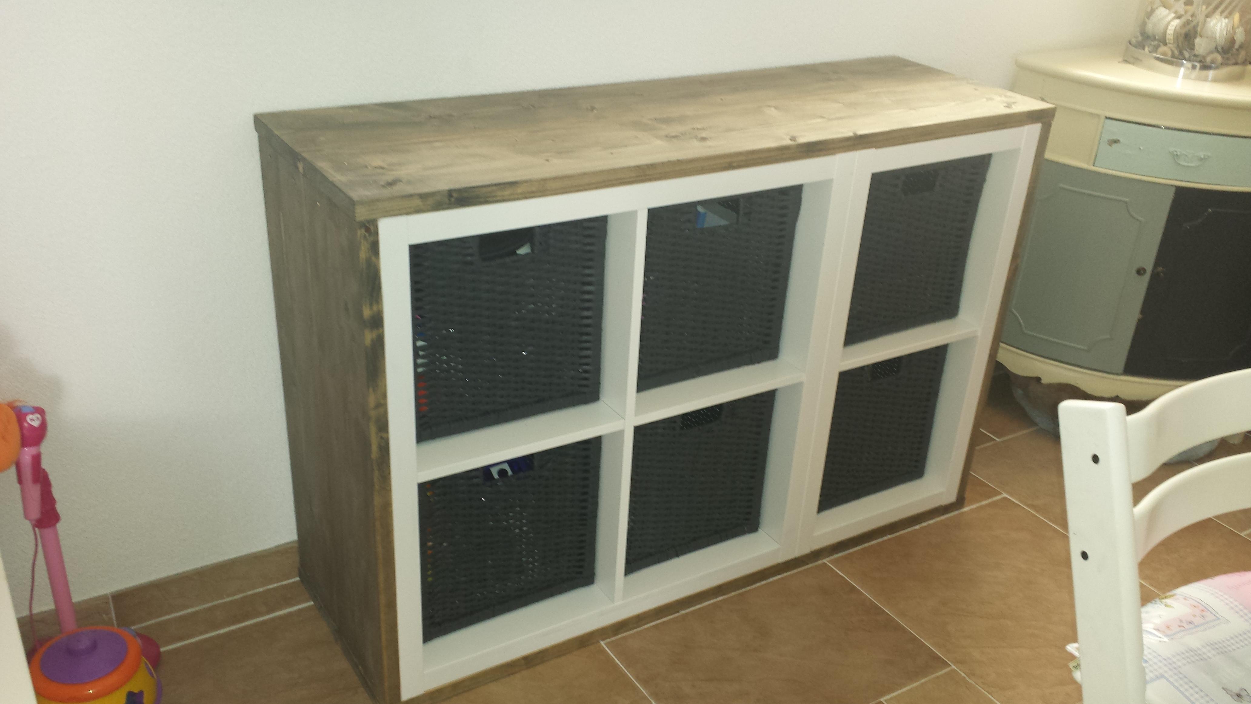 Ikea Kallax Kast : Kastje voorzien van steigerhout voordemakers