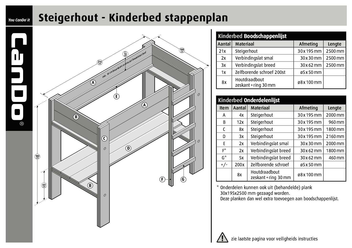 Steigerhout Bureau Tekening.Kinderbed Met Bureau Met Bouwtekening Voordemakers Nl