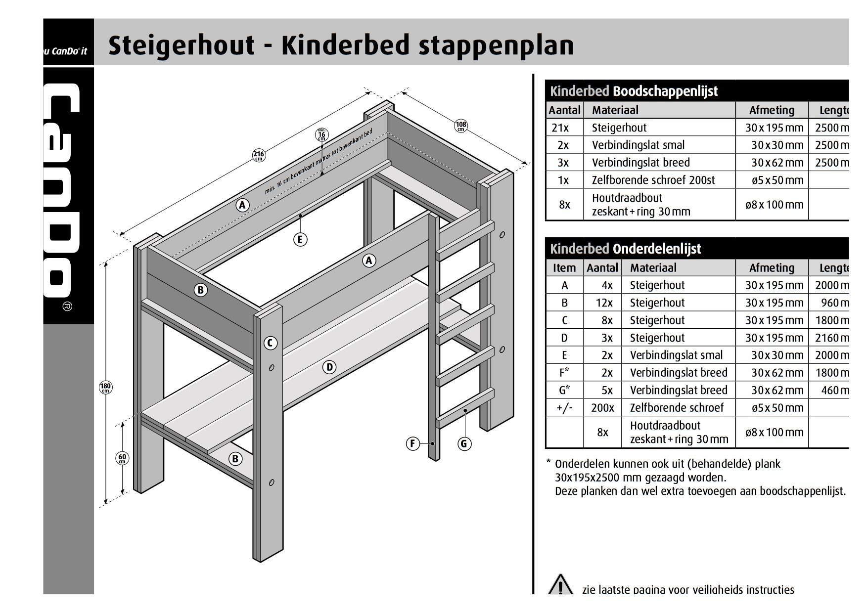 Hoogslaper van steigerhout, werktekening van cando | voordemakers.nl