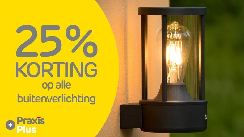 25% korting op alle buitenverlichting