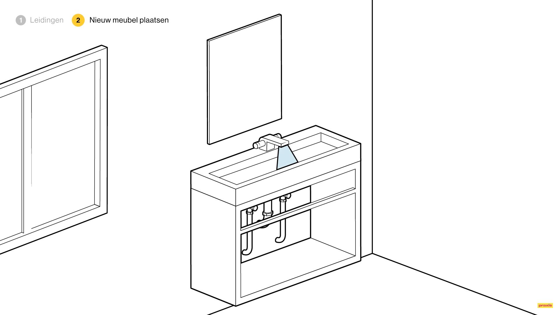 badkamermeubel plaatsen in plaats van wastafel voordemakers